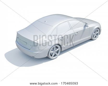 3d render: Car White Blank Template
