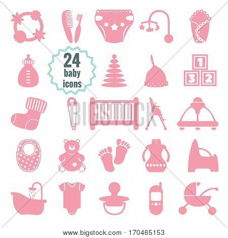 vector baby icons set Isolated vector illustration on white background.