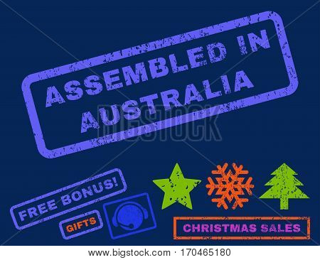 Assembled In Australia text rubber seal stamp watermark with bonus new year symbols. Tag inside rectangular shape with grunge design and unclean texture.