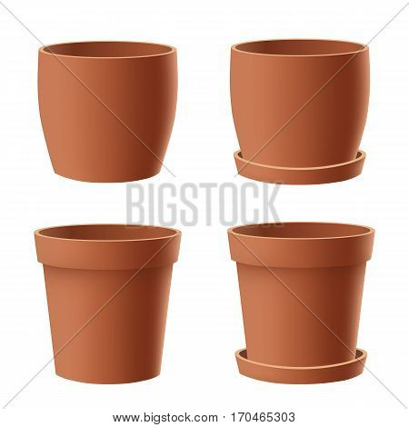 Vector set of realistic isolated brown flower pot on white background.