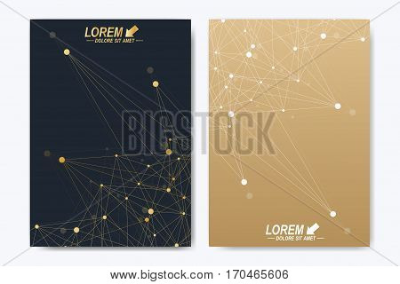 Modern vector template for brochure Leaflet flyer advert, cover, catalog, magazine or annual report. A4 size. Business, science, medical design. Golden cybernetic dots. Lines plexus. Card surface
