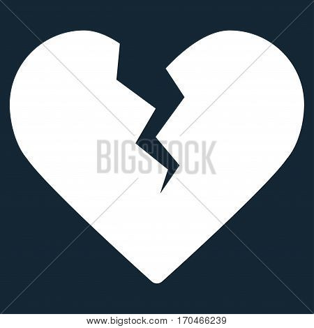 Divorce Heart vector icon symbol. Flat pictogram designed with white and isolated on a dark blue background.