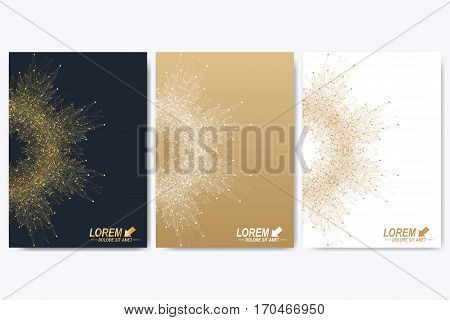 Vector template for brochure, Leaflet, flyer, advert, cover, catalog, magazine or annual report. Geometric background molecule and communication. Golden cybernetic dots. Lines plexus. Card surface