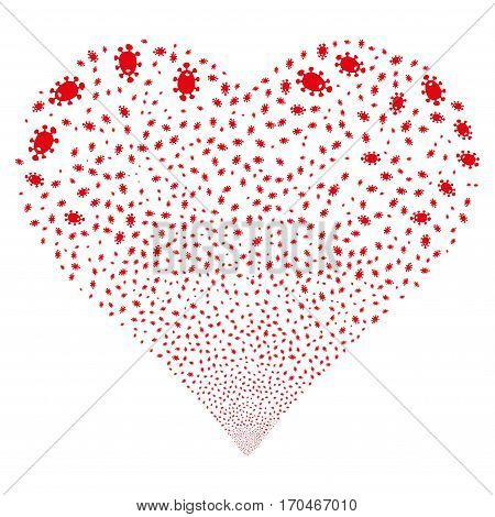 Bacteria fireworks with heart shape. Vector illustration style is flat red iconic symbols on a white background. Object salute combined from scattered pictographs.