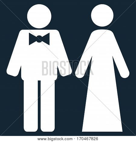 Just Married Persons vector icon symbol. Flat pictogram designed with white and isolated on a dark blue background.