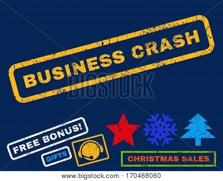 Business Crash text rubber seal stamp watermark with bonus christmas symbols. Caption inside rectangular shape with grunge design and dirty texture.