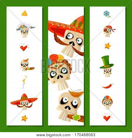 Set of universal cards and bookmarks with variety of Mexican style skulls. Dia de Muertos. Cinco de Mayo. Vector illustration