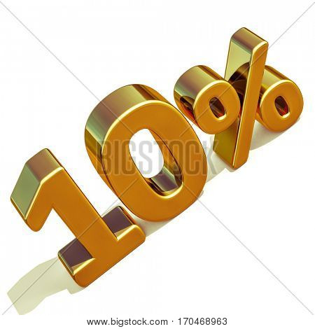 3d render: Gold 10 Percent Off Discount Sign, Sale Banner Template, Special Offer 10% Off Discount Tag, Ten Percentages Up Sticker, Gold Sale Symbol, Gold Sticker, Banner, Advertising, Gold Sale 10%