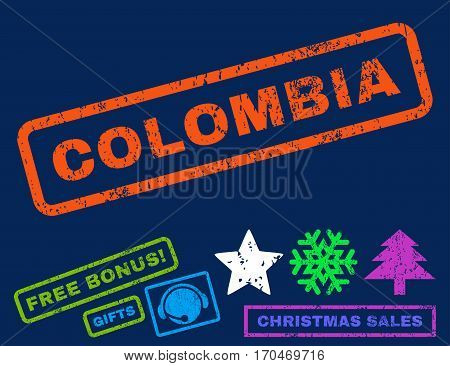 Colombia text rubber seal stamp watermark with additional bonus christmas symbols. Caption inside rectangular shape with grunge design and scratched texture.