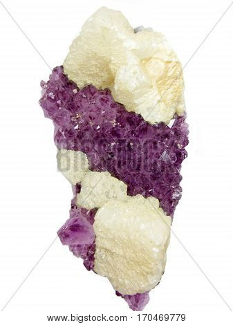 amethyst quartz with calcite semigem geode crystals geological mineral isolated