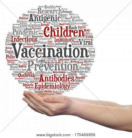 Concept or conceptual children vaccination or viral prevention circle word cloud in hand isolated on background metaphor to infectious antigenic, antibodies, epidemiology immunization or inoculation