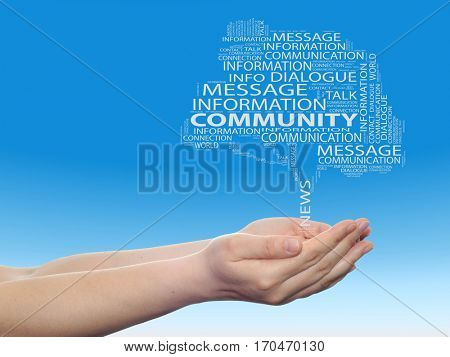 Concept or conceptual tree contact word cloud tagcloud in man or woman hand on blue sky background metaphor to communication, speech, message, mail, relation, dialog, talk, contact, email, internet