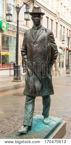 Monument to composer Sergei Prokofiev in Kamergersky Lane in Moscow, near the house where the composer lived. Author - sculptor Kovalchuk. Russia Moscow. February 11, 2017