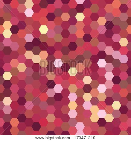 Abstract Seamless Background Consisting Of Pink, Orange Hexagons. Geometric Design For Business Pres