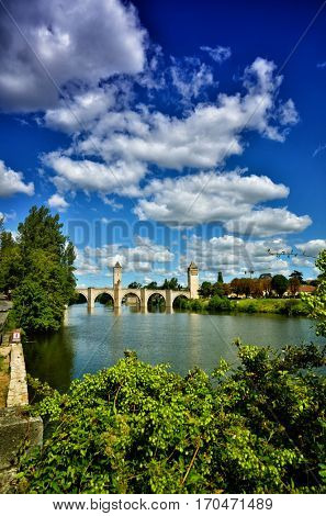 Pont Valentre, fortified stone arch bridge crossing the Lot River at Cahors, France