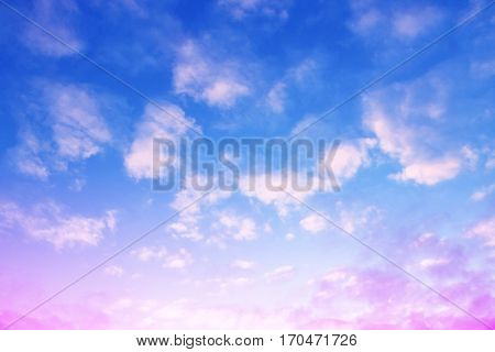 Colorful sky with clouds at sunset.