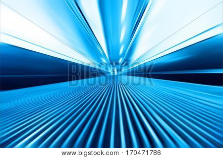 Abstract image of moving walkway in modern building.