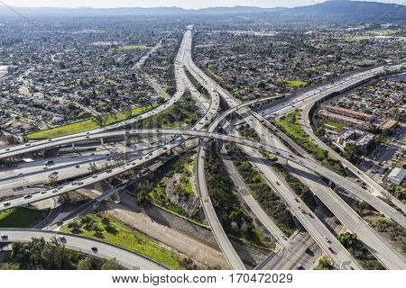 Aerial view of the Golden State 5 and Route 118 freeway interchange in the San Fernando Valley area of Los Angeles California.