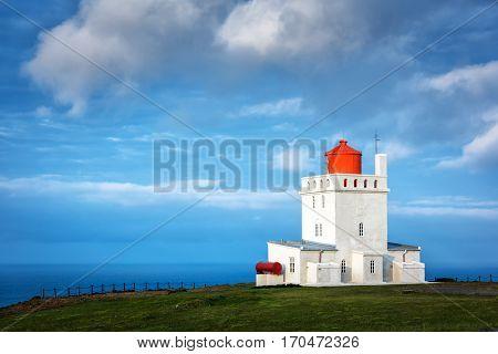 White lighthouse at Cape Dyrholaey, Iceland.