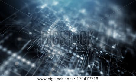 Blue abstract futuristic technology background. 3D rendering