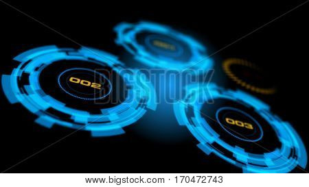 Blue abstract advanced technology control panel user interface. 3D rendering