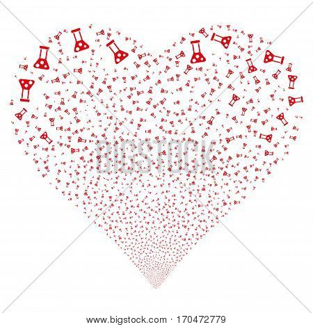 Chemistry fireworks with heart shape. Vector illustration style is flat red iconic symbols on a white background. Object love heart constructed from scattered icons.