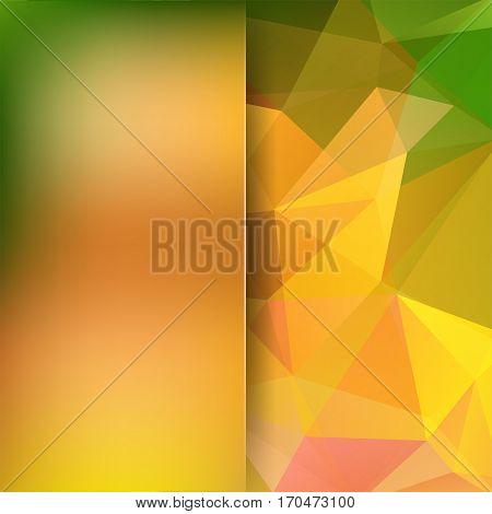 Abstract Background Consisting Of Yellow, Orange, Green Triangles. Geometric Design For Business Pre