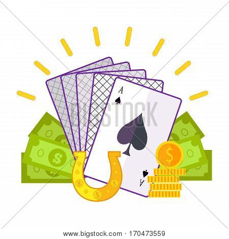 Gambling concept vector in flat style. Cards, horseshoe, dollar bills, golden coins. Illustration for gambling industry, sport lottery services, icons, web pages, logo design. On white background.