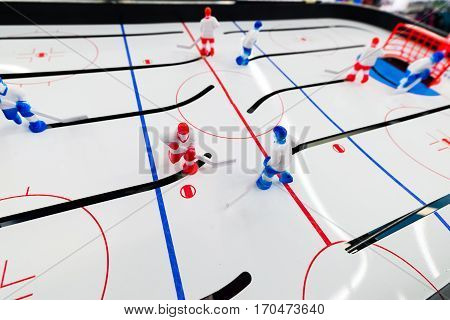 Table hockey game is close up shot