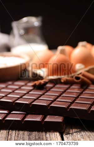 chocolate bar and baking ingredient