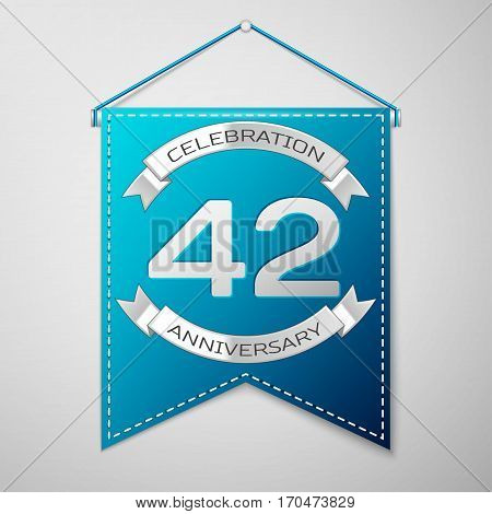Blue pennant with inscription Forty two Years Anniversary Celebration Design over a grey background. Silver ribbon. Colorful template elements for your birthday party. Vector illustration