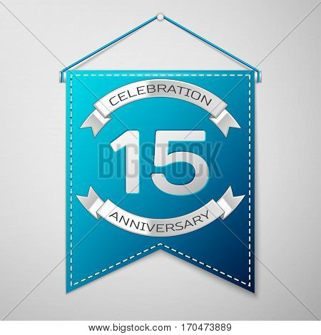 Blue pennant with inscription Fifteen Years Anniversary Celebration Design over a grey background. Silver ribbon. Colorful template elements for your birthday party. Vector illustration