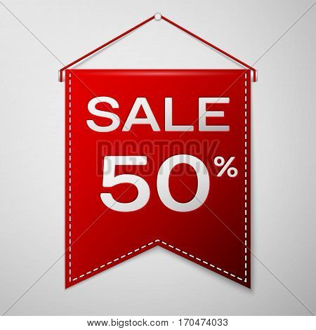 Red pennant with inscription sale fifty percent Discounts over a grey background. Sale concept for shops store market, web and other commerce. Vector illustration.