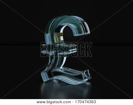 Glass Pound Symbol  3D Illustration