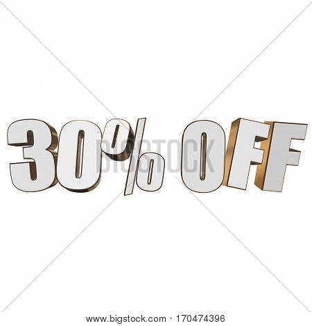 30 percent off letters on white background. 3d render isolated.