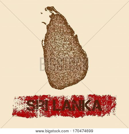 Sri Lanka Distressed Map. Grunge Patriotic Poster With Textured Country Ink Stamp And Roller Paint M