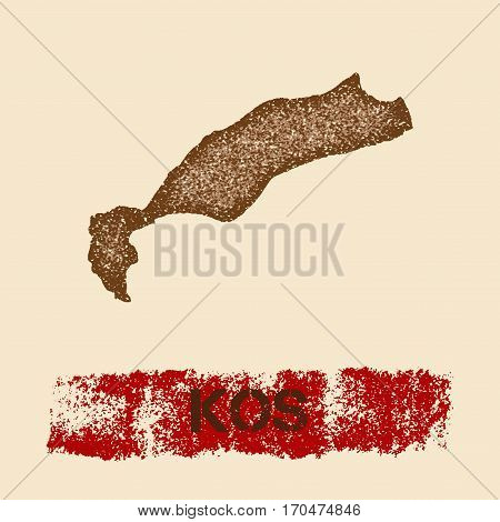 Kos Distressed Map. Grunge Patriotic Poster With Textured Island Ink Stamp And Roller Paint Mark, Ve