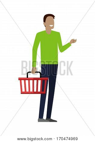 Man with empty shopping basket. Smiling man in green t-shirt and blue pants. Man daily shopping, supermarket shopping, customer in mall, retail store illustration in flat