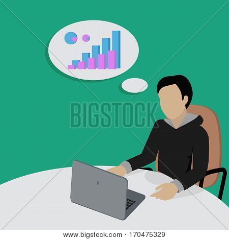 Man sitting on chair and thinking about financial charts. Men at work thinks how to earn more money. Endless work seven days a week. Part of series of work at the office. Vector illustration