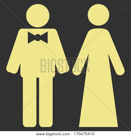 Just Married Persons vector icon symbol. Flat pictogram designed with khaki yellow and isolated on a gray background.
