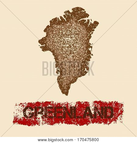 Greenland Distressed Map. Grunge Patriotic Poster With Textured Country Ink Stamp And Roller Paint M