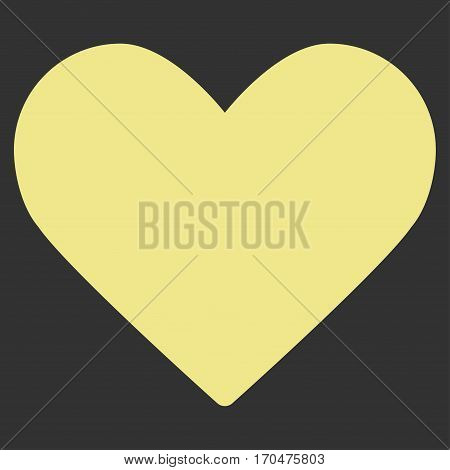Love Heart vector icon symbol. Flat pictogram designed with khaki yellow and isolated on a gray background.