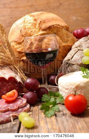 red wine and french bread and cheese