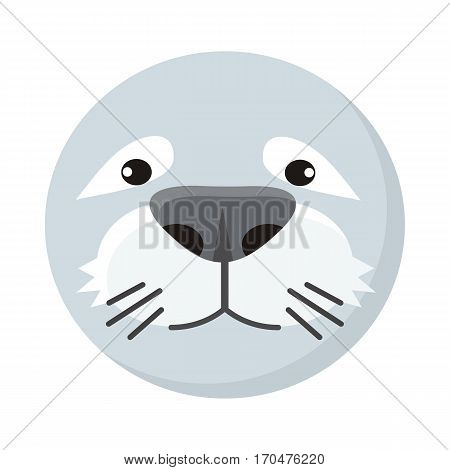 Seal face vector. Flat design. Animal head cartoon icon. Illustration for nature concepts, children s books illustrating, printing materials, web. Funny mask or avatar. Isolated on white background