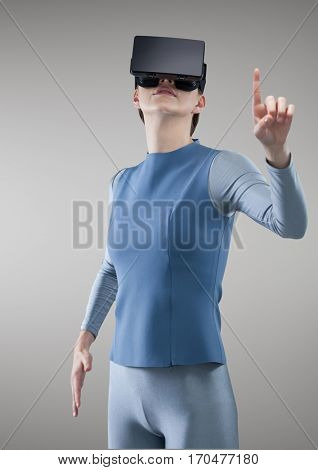Woman experiencing virtual reality headset against grey background