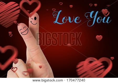 Smiling finger couple, love you message and red hearts against digitally generated background