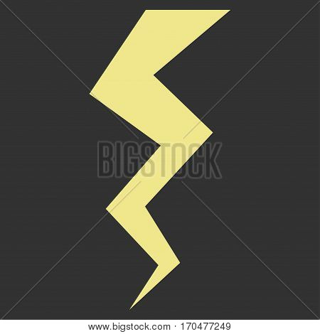 Thunder Crack vector icon symbol. Flat pictogram designed with khaki yellow and isolated on a gray background.