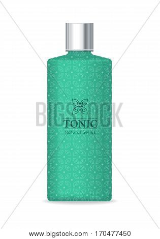 Tonic natural series. Green plastic tube for cosmetics on white background. Product for body care, beauty, health, freshness, youth, hygiene. Cream and lotion product. Realistic vector illustration.
