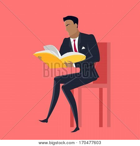 Getting on top of knowledge vector concept. Flat design. Man character in business suit seating on chair with book in hands. Self-education, and literature reading concept. On red background.