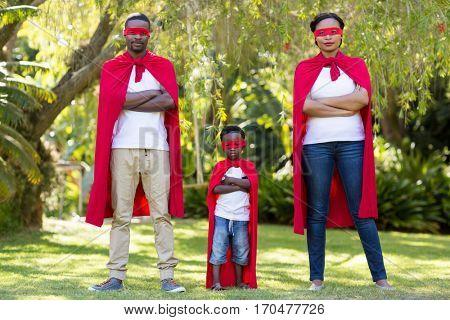 Happy family dressing up at park